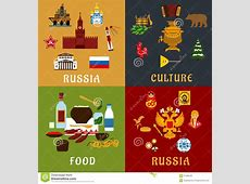 Russian Travel And Culture Flat Icons Stock Vector Image