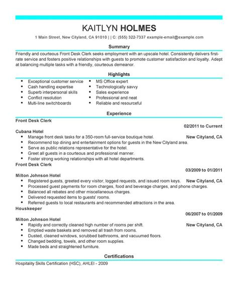 front desk resume objective front desk clerk resume exles created by pros