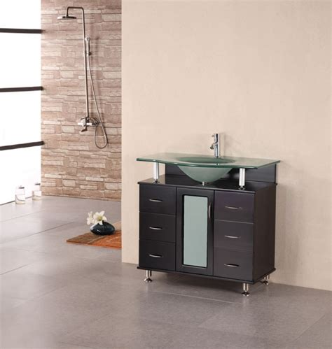 modern single sink vanity  frosted glass