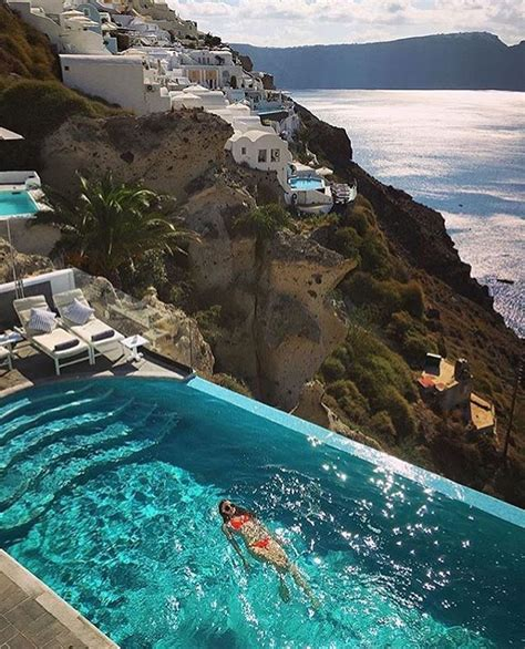 Santorini Greece Sit Back And Enjoy The Poolside In