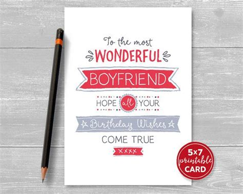 birthday card template husband printable birthday card for boyfriend to the most