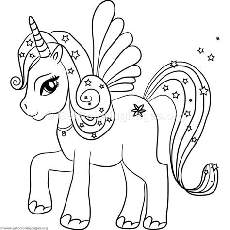 kawaii unicorn  wings coloring pages getcoloringpagesorg