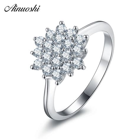 ainuoshi fashion 925 sterling silver wedding rings engagement anniversary cute flower ring
