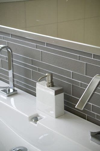 Modern Bathroom Tile Layout by Island Smoke Linear Glass Bathroom Modern Bathroom