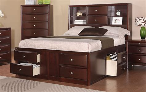 bookcase bed frame espresso solid wood bed frame w drawers and