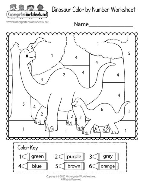 dinosaur color  number worksheet  kindergarten