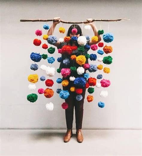 colorful pompoms making unique home decorations  gifts