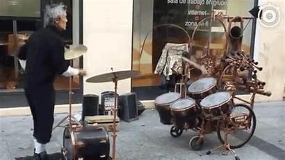 Street Skilled Performer Juggle Drumming Loose Give