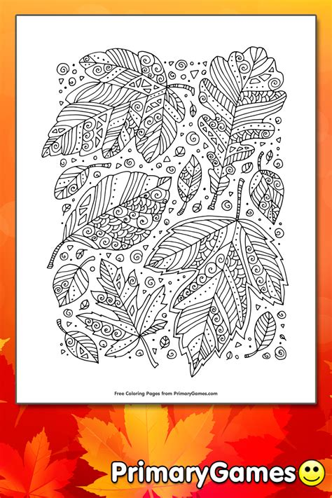 zentangle leaves coloring page printable fall coloring