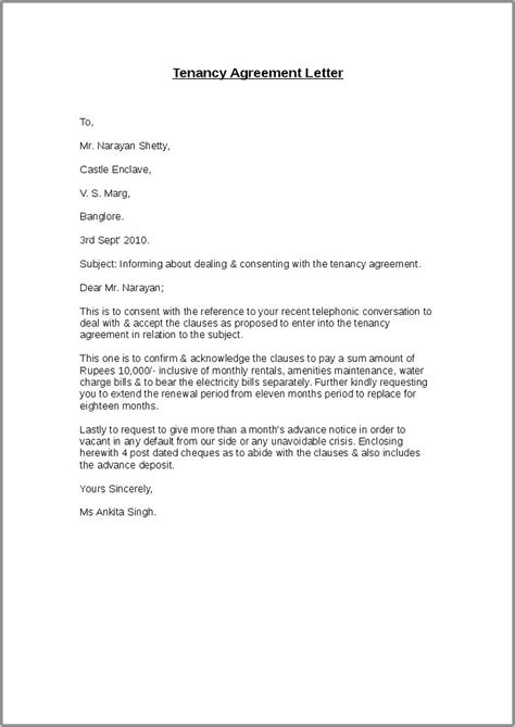 Renewal Tenancy Agreement Sample Letter