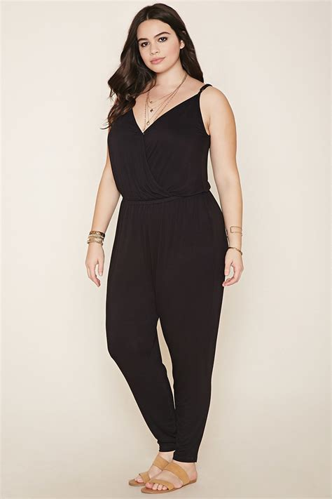jumpsuits and rompers plus size forever 21 plus size cami jumpsuit in black lyst