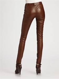 Ralph Lauren Blue Label Leather Pants In Brown
