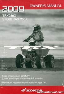 2009 Honda Trx250x Sportrax Atv Owners Manual