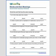 Grade 2 Vocabulary Worksheet  Vocabulary Meanings  K5 Learning