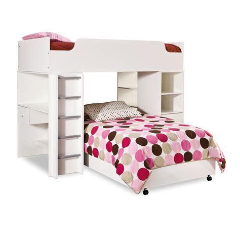 bunk beds with built in desk and drawers furniture white wood bunk bed with pink desk and shelves