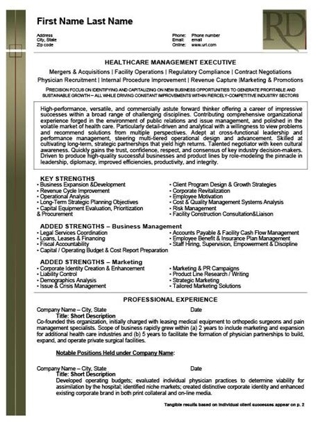 Healthcare Resume Templates by Health Care Management Executive Resume Template Premium