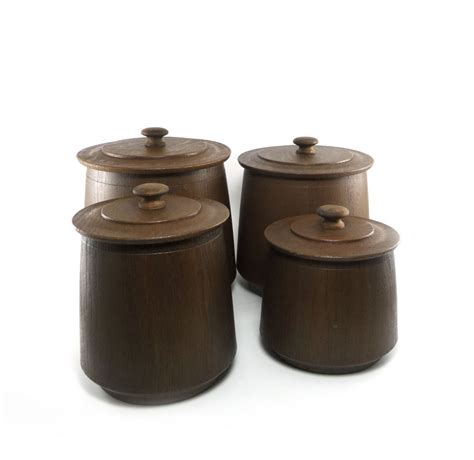 wooden kitchen canister sets vintage faux wood canister set chocolate brown by