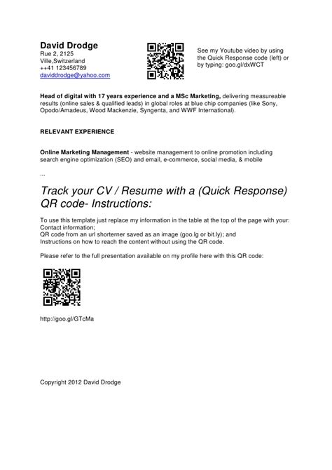 Linkedin Qr Code On Resume by Qr Code Cv Resume Template David Drodge