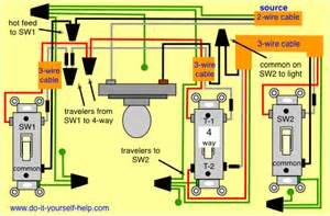 4-Way Switch Wiring Diagram Light Middle