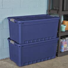 3pk Plastic Storage Containers Large Blue 50 Gallon