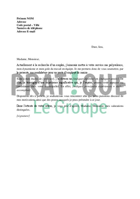 lettre de motivation pour un poste d employ 233 de mairie pratique fr