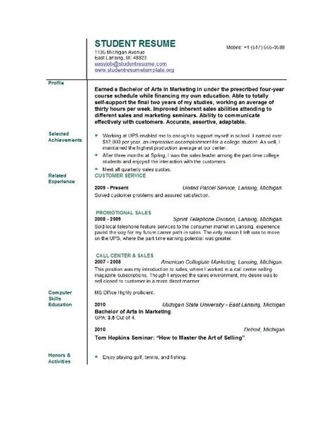 Template Of Resume For Students by Student Resume Templates Student Resume Template Easyjob