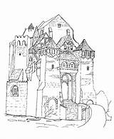 Castle Coloring Medieval Pages Castles Sheets Knights Printable Moat Churches Fantasy Adult Knight 3d Easy Activity Template Princess Templates Princes sketch template