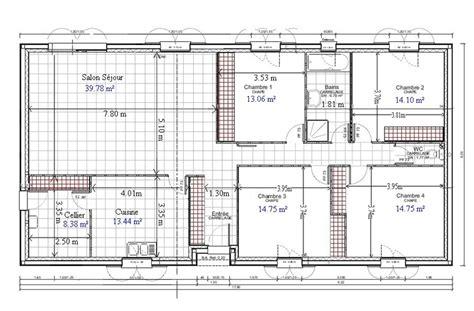 plan de maison plain pied gratuit 4 chambres 1 plans chang e 3