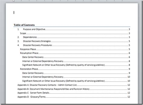 Technology Strategy Document Template by A Microsoft Word Document Template For Disaster Recovery