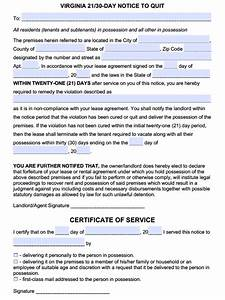 notice to vacate premises sample free virginia 21 30 day notice to comply or quit pdf