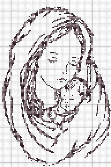 Haft krzyżykowy Matka Boska z Dzieciątkiem wzór na Stylowi pl