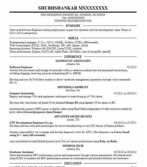 Uga Career Center Resume by 90 Software Engineering Resume Exles In Roswell