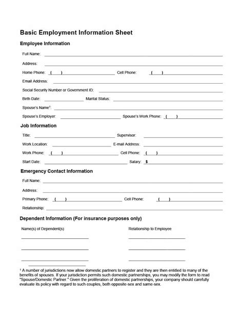 employment information sheet 47 printable employee information forms personnel