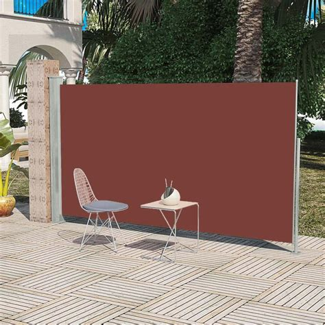 vidaxlcouk patio retractable side awning cm brown
