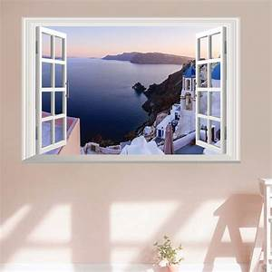 fake window wall stickers living room decor deep blue sea With faux window wall decal for home