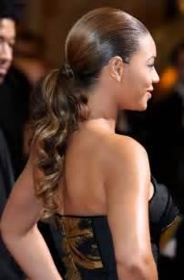 decorative bobby pins beyonce knowles sleek curly ponytail hairstyles weekly