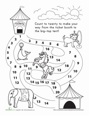 counting 1 20 let s go to the circus worksheet education