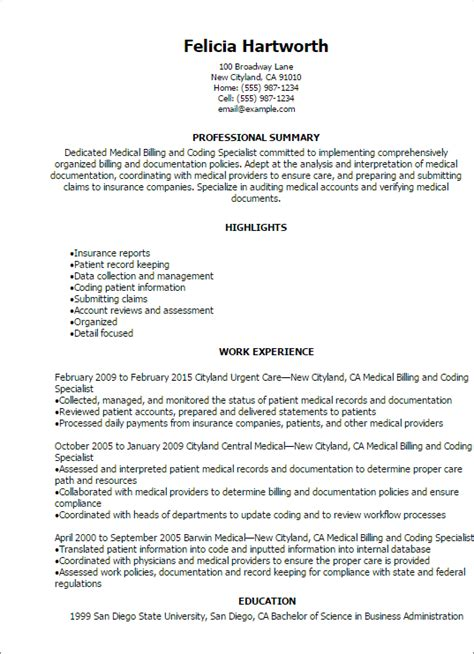 professional billing and coding specialist resume