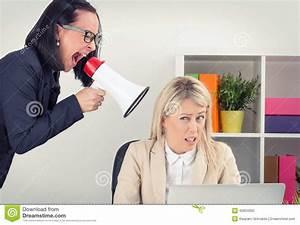 Boss Shouting At Employee On Megaphone Stock Photo - Image ...