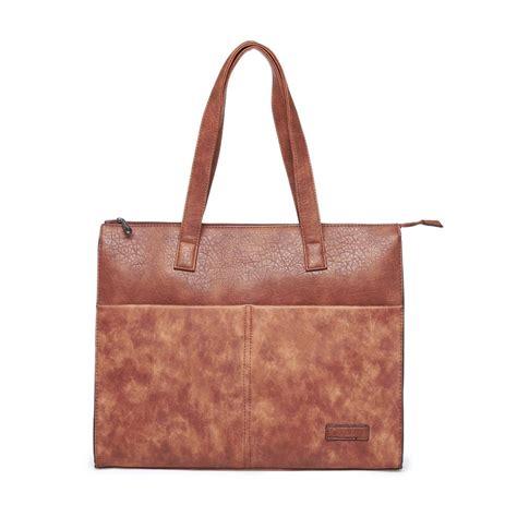 sac cabas femme pas cher rigide marron avec poches
