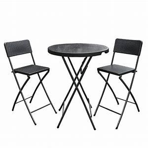 Chaise Mange Debout : ensemble mange debout et 2 chaises hautes pliantes effet r sine tress e noir seulement ~ Teatrodelosmanantiales.com Idées de Décoration