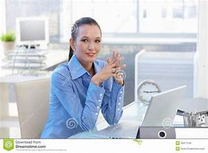 Portrait Of Happy Office Worker Girl Stock Images - Image ...