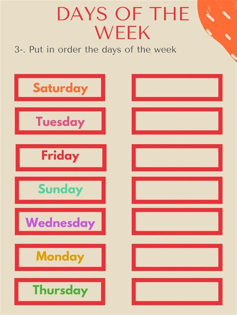 days   week interactive worksheet