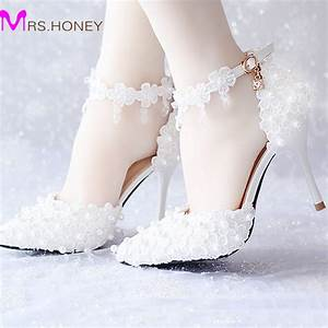 white lace flower bridal dress shoes pointed toe high With wedding dress heels