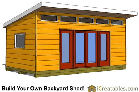 12x20 modern studio shed plans center doors
