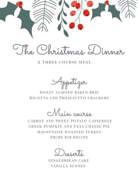 kerst diner menu sjabloon ontwerp flipsnack