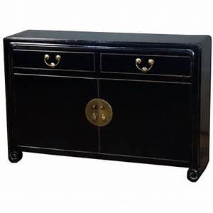 Buffet Bois Et Noir : buffet noir en bois massif meubles ~ Melissatoandfro.com Idées de Décoration