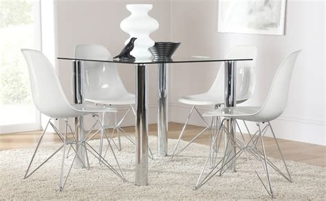 Nova Square Glass & Chrome Dining Table And 4 Chairs Set