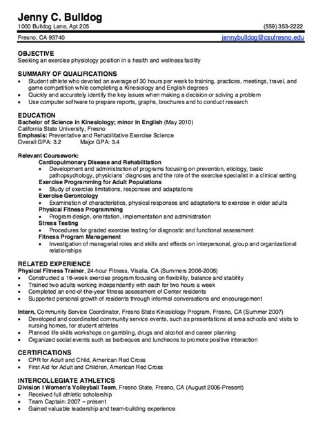kinesiology graduate resume samples http