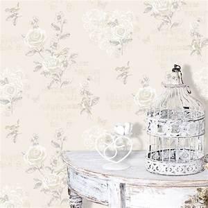 Cream shabby chic Jenny Wren wallpaper - The Shabby Chic Guru